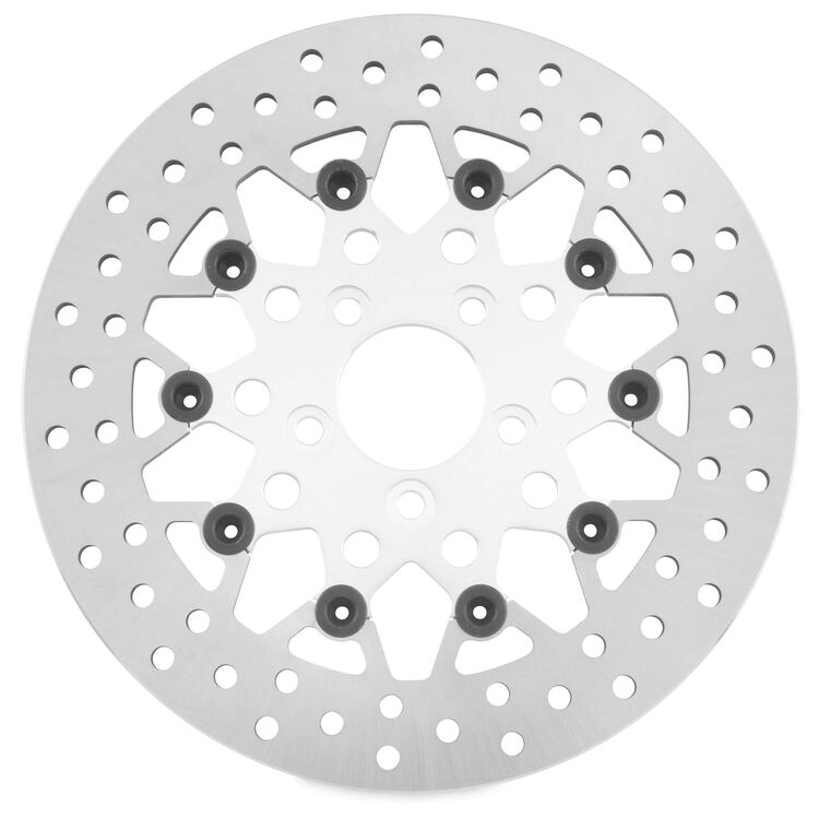 Twin Power Silver Floating Mesh Rear Rotor For Harley