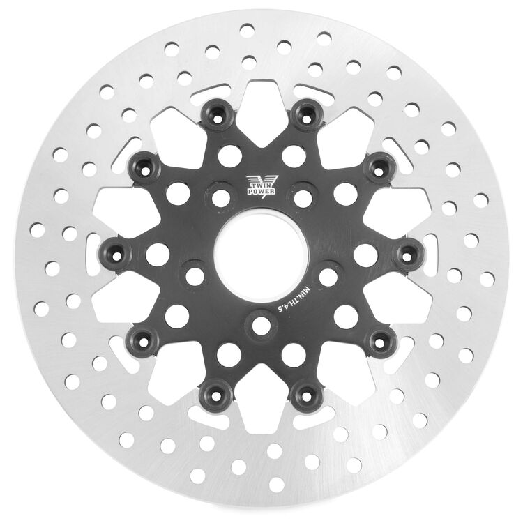 Twin Power Black Floating Mesh Rear Rotor For Harley