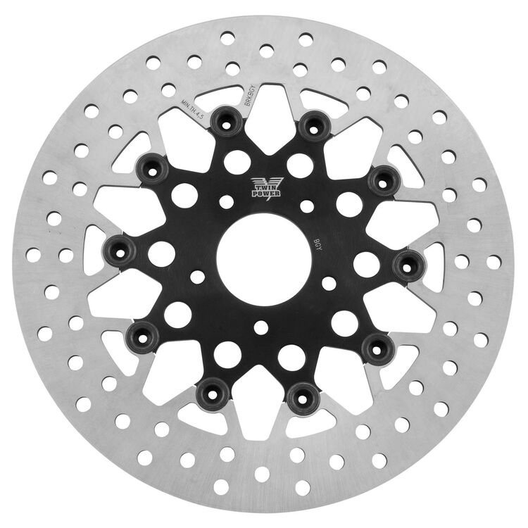 Twin Power Black Floating Mesh Front Rotor For Harley