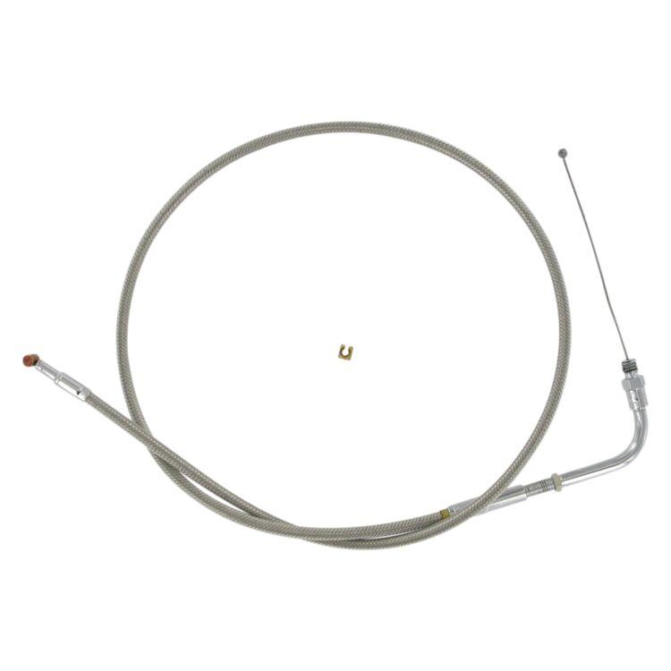 Barnett Stainless Steel Throttle Cable For Harley 1981-1989